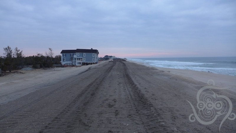 Looking north along the beach in Mantoloking, half way between Lyman and Herbert Streets.